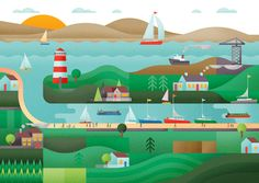 Scottish Canals Illustration by Jack Daly. Boating, River, Canal, Scotland, Graphic, Outdoors, landscape, map, editorial, cover