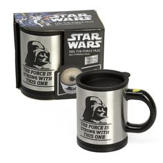 Darth Daver self stirring mug by the power of the dark side for $24.95 ....Is this awesome ore what??????  http://darthvaderstore.com/darth-vader-self-stirring-mug-2  #starwars #darthvader #mug