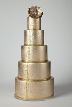 Brides: America's Prettiest Wedding Cakes | Towering Bronze and Gold Wedding Cake | Cake by Pastry Studio