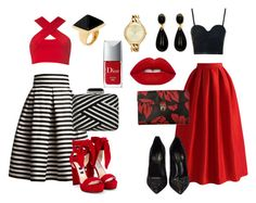 """Red"" by jaisylaramsamy ❤ liked on Polyvore featuring Rumour London, Motel, Jimmy Choo, Topshop, Chicwish, Prada, Casadei, Judith Leiber, Lime Crime and Christian Dior"