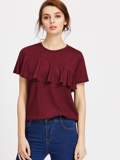 Shop Asymmetric Flounce Trim Glitter Tee online. SheIn offers Asymmetric Flounce Trim Glitter Tee & more to fit your fashionable needs.