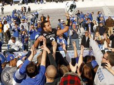 WR converted QB Matt Roark was carried off the field after helping the Cats end the 26-game losing streak to the Vols in November 2011
