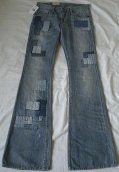 Ralph Lauren Denim Supply Jeans ~ Patchwork Flare Distressed Repaired Patch ~ DIY Vintage Hippie Boho