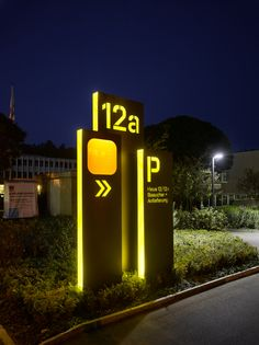 Illuminated parking lot signs #wayfinding