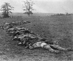 Matthew Brady's photo of what is left of some soldiers in the American Civil War after the battle of Antietam.
