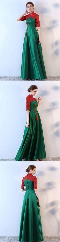 #Green Prom Dress #hunter prom dress #High Neck prom dress #Half sleeve prom dress #lace prom dress #long prom dress #popular prom dress