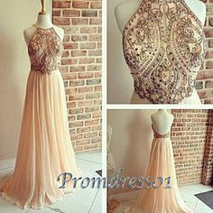 2016 beautiful backless pink chiffon prom dress with top details, bridesmaid dress, vintage prom dress #coniefox #2016prom
