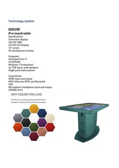 info about the TOUCH Pro interactive table