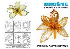 Predlohy na paličkovanie Katky Búranovej Irish Crochet Patterns, Bobbin Lace Patterns, Lace Jewelry, Textile Jewelry, Bobbin Lacemaking, Lace Heart, Needle Lace, Crochet Flowers, Floral