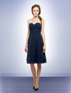 A-line Sweetheart Knee-length Chiffon Navy Bridesmaid Dress