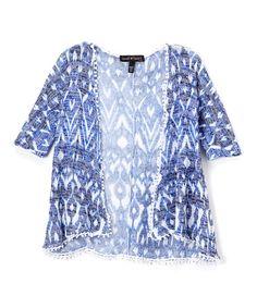 Look what I found on #zulily! Blue & White Geo Pom-Pom Kimono - Kids #zulilyfinds