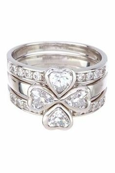 Coveted Classics Sterling Silver Simulated Diamond 4 Small Hearts Ring Set
