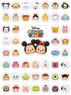 Disney Tsum Tsum Stickers- good for Planners, Notebooks, Calendars and Agenda Tsum Tsum Party, Disney Tsum Tsum, Printable Planner Stickers, Diy Stickers, Printables, Free Planner, Happy Planner, Doodles, Tsumtsum