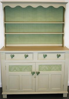 Shabby Chic Vintage Oak Welsh Dresser, £525.00 by @HortonGreen1 - This pretty vintage oak welsh dresser will look gorgeous in any kitchen. It has been painted in Autentico vintage Almond and Sea Moss with Wilderness Eggshell on the inside of the drawers and cupboard. H 178 cm W 127 cm D 49cm Delivery is included in the price