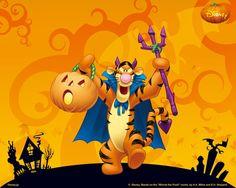 Free cartoon wallpaper for your desktop Disney Halloween, Tigger Halloween, Halloween Cartoons, Happy Halloween, Halloween Magic, Tigger Disney, Disney Winnie The Pooh, Eeyore, Winnie The Pooh Friends