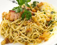 Spaghetti w/ cracklings & hot pepper from Scampo
