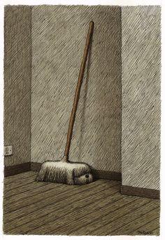 """Cane puliziotto"" by Italian illustrator Franco Matticchio (b. 1957) | Animalarium"