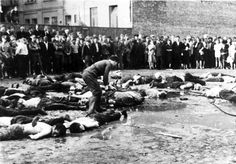 """Lithuanian nationalists publicly clubbing Jews to death during the Lietūkis Garage Massacre. June From the original page:"""" In June and July detachments of German Einsatzgruppen, together with Lithuanian. Crime, Rare Historical Photos, Jewish History, Lest We Forget, Persecution, The Victim, World War Two, Retro, Kaunas Lithuania"""