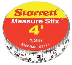 "Starrett Measure Stix SM44ME Steel White Measure Tape with Adhesive Backing, English/Metric Graduation Style, Left To Right Reading, 4' (1.2m) Length, 0.5"" (13mm) Width, 0.0625"" Graduation Interval Starrett"