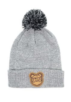 16fb2857e08 Grey bobble beanie hat featuring a leather patch to the front and iconic  bear woven label at the rear.