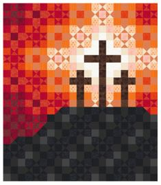 This quilt was created in using a repeating block, colored to create an art quilt. It's themed to celebrate the joy of Lent! Cross Patterns, Quilt Block Patterns, Quilt Blocks, Embroidery Patterns, Quilting Projects, Sewing Projects, Diy Projects, Minecraft Quilt, Modern Quilting Designs