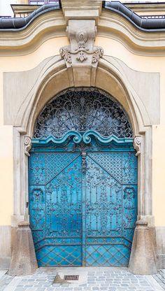 Wroclaw, Poland, door blue gate metal details studs