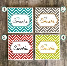 Drink Coasters, Personalized Family Name in Chevron Style, Ceramic Tiles, Housewarming Gift, Wedding, Choose Your Style and Send Us Name $7.50 #personalized #coasters #familyname #christmasgift