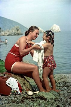 """Valentina from Siberia with her daughter, in Crimea"" 1954 (Crimea was Russian at the time)."