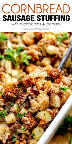 Thanksgiving Cornbread Sausage Stuffing (Dressing) with dried cranberries, apples and pecans is is destined to become your new go-to recipe!! The wonderfully savory, buttery herb infused stuffing is moist, flavorful, easy and absolutely addicting!