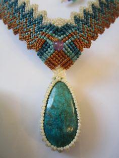 Handmade Chrysocolla Necklace Macrame Creation. $58.00, via Etsy.