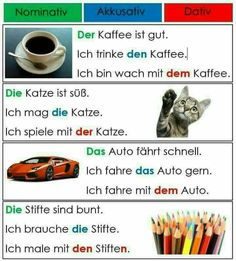 German grammar - Nominative, accusative, dative German Grammar, German Words, Learning Languages Tips, Foreign Languages, Education And Literacy, Education English, Dativ Deutsch, Germany
