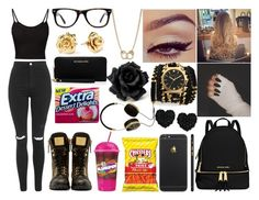 """""""Black & Gold; Field Trip"""" by aaliyahsalmon ❤ liked on Polyvore featuring MICHAEL Michael Kors, Sara Designs, Frends, Muse, Topshop, Sugar NY, Giuseppe Zanotti, Marc by Marc Jacobs and Betsey Johnson"""
