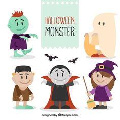 Varios monstruos de halloween sonrientes