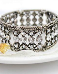 Silver Crystal Fracture Bracelet