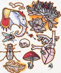 beetle, elephant, mushroom, mum. original painting of tattoo flash
