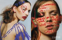 talk cheap – Schön! Magazine - Photographer Anna Daki maximises doodling in this Schön! beauty editorial. Make-Up by Aennikin sees words drawn out on model Lilla, enhanced with illustrations by Alina Zamanova