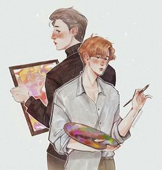 """We let the Artist!Baekhyun and Collector!Chanyeol au to be born but dropped it asap so I'm turning it back to life 😔✊🏻 just a sketch tho I promise I'll get back to normal drawings 😂 Chanbaek Fanart, Exo Chanbaek, Flower Boys, Korean Singer, Chanyeol, Boy Groups, Cool Art, Fan Art, Kpop"