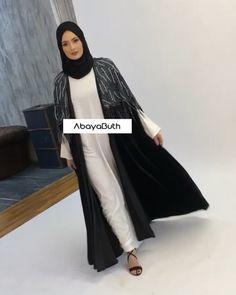 Black Velvet Cape with Navy Tassels : Hijab Fashion Summer, Abaya Fashion, Kimono Fashion, Modest Fashion, Couture Fashion, Fashion Outfits, Iranian Women Fashion, Islamic Fashion, Muslim Fashion