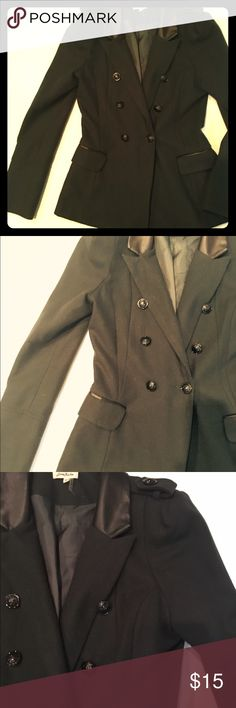 Deep Green Jacket Double breasted jacket with lining, and black faux leather trim at collar. Wool blend. No flaws! Love Riche Jackets & Coats
