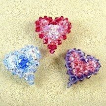 Multicolor Crystal Puffy Heart Pattern at Sova-Enterprises.com. Lots of free beading patterns and tutorials are available on this site!