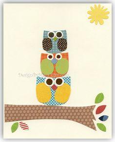 Baby boy nursery decor, Nursery wall art print, Owls ...Larghe Medium Small green blue red orange. $17.00, via Etsy.