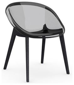bloom chair graphite legs transparent smoked grey set of 2 modern dining chairs pomp home