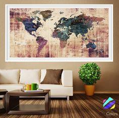 LARGE Wall Art World Map Push Pin Print Watercolor World Map Print - Extra large framed world map