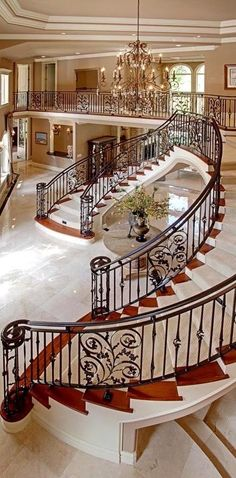 55 Luxurious Grand Staircase Design Ideas That are Just Spectacular Grand Staircase, Staircase Design, Double Staircase, Luxury Staircase, Grand Foyer, Grand Entrance, House Goals, Interior And Exterior, Interior Design