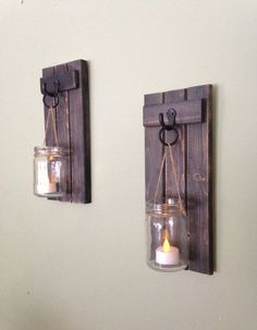 Wooden Candle Holder Rustic Wall Sconce Mason Jar от CoveDecor