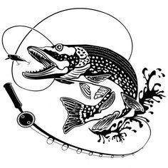 Щука рыба с Удочка Черный Белый — стоковая иллюстрация Pike Fishing, Fly Fishing, Fish Artwork, Fish Silhouette, Cartoon Fish, Fish Logo, Scroll Saw Patterns, Tattoo Sketches, Pyrography