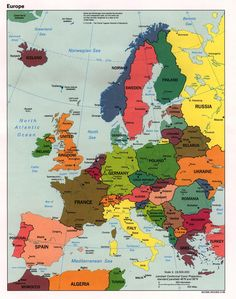 """Maps of Western Europe:  Americans are possibly the most geographically ignorant people in the world.  Part of my studies were in grad school Geography and  I love maps so I make a point of providing maps so you know what is where. If you go back far enough in your tree, you could be surprised at how many different countries there are on your tree.  Most Americans are, as a cousin says, """"All-American mutts"""". So it's fun to discover where your ancestors were."""
