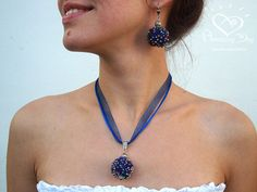 Large Pendant SET BLUE Big Royal Crochet Jewelry Set, Seed Beaded Necklace & BIG Earrings, Chic Necklace Set with Evening Dress Disco Ball