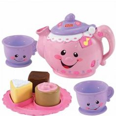 The Say Please Tea set for babys first learning tea party. This adorable set has 3 play modes- learning, music and imagination. Teaches baby about numbers, shapes, opposites, manners, greetings and more. Tip the tea pot to hear fun sound.