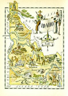 We love anything Idaho... :) Find out more at www.visitnorthcentralidaho.org Idaho map featuring cowboys& Indians
